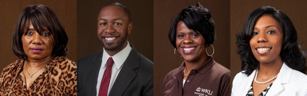 WKU staff members (from left) Johnalma Barnett, Ryan Dearbone, Martha Sales and Aurelia Spaulding will be honored Feb. 26 by Bowling Green's Trailblazers Committee.