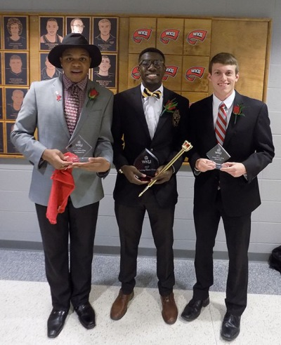 Adeleke Ademuyewo (center) was crowned 2017 Coming Home King on March 2. First-runner up was Matthew Bunnell (right); second runner-up was Justin Atkinson (left).