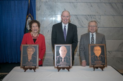 Members of the ninth class of the Governor Louie B. Nunn Kentucky Teacher Hall of Fame were inducted March 8 in Frankfort. From left: Opal T. Sibert, Ron Skillern and Joe Westerfield.
