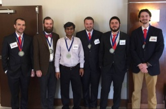WKU geology students won the regional event in the Imperial Barrel Award and advanced to the international finals. From left to right: Matt Boudreaux, Shelby Bowden, Dr. Royhan Gani, Matthew Bentley, Michael Arthur, and Jesse Boling.