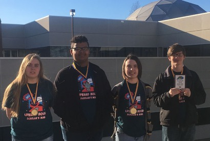 WKU Upward Bowl Scholar's Bowl team (from left) Kaci Cline, Isiaha Price, Sylas Morris and Danny Holt won the state competition on Feb. 25.