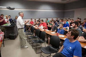 President Timothy C. Caboni welcomed students at the Suzanne Vitale Clinical Education Complex on Aug. 20.