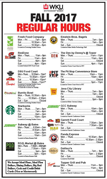 Fall dining hours for WKU main campus