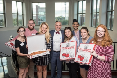 A group of students had pizza with President Timothy C. Caboni on Oct. 2.