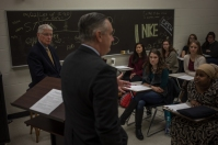 President Timothy C. Caboni spoke to a communication class on Oct 30.