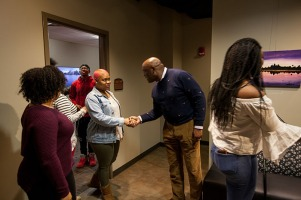 CJ and George Nichols visited the Intercultural Student Engagement Center on Nov. 16. They were recognized on Nov. 15 for their gift to support diversity initiatives at WKU.