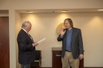 Mathematics professor Claus Ernst (right) was sworn in as faculty regent by Regents Chair Phillip Bale on Jan. 26.