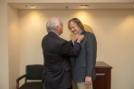 Mathematics professor Claus Ernst (right) was sworn in as faculty regent by Regents Chair Phillip Bale on Jan. 26.