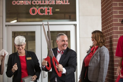 Ogden College Hall dedication and ribbon cutting was held Feb. 19.