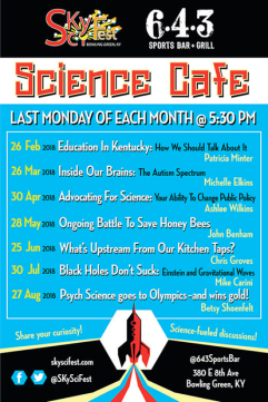 2018 Science Cafe schedule