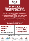 Workplace Sexual Harassment Prevention Training will be held March 28.