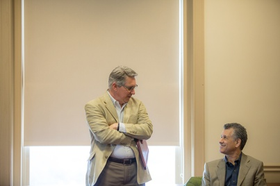 Daniel Levitin met with students during his visit to WKU on March 5..