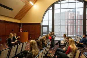 Dr. Kendra Cherry-Allen met with students March 23 for a question-and-answer session as part of her visit for the Student Research Conference.