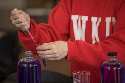 Scenes from a WKU chemistry lab in Ogden College Hall.