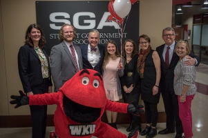 President Timothy C. Caboni and Big Red surprised Andi Dahmer on April 11 with news that she was WKU's first Truman Scholar.