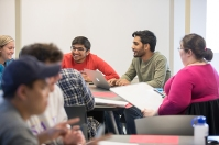 Students participate in a business law class.