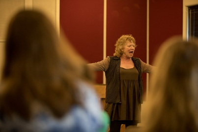 WKU Theatre & Dance graduate Becky Ann Baker and her husband, Dylan, visited students on May 1.