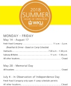 WKU Restaurant Group summer dining hours