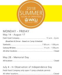 WKU Restaurant Group summer dining hours