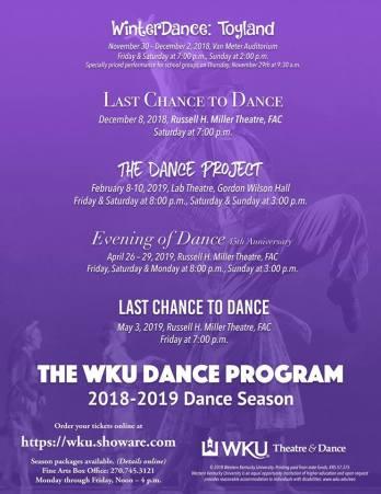 2018-19 WKU Dance Program schedule